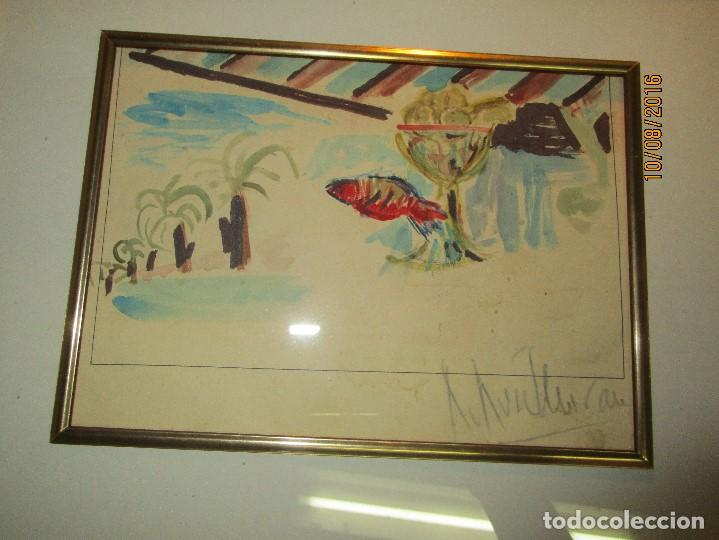 Arte: ROBERTO Ruiz morante ANTIGUA ACUARELA ORIGINAL PLAYA CHIRINGUITO ALICANTE 1985 - Foto 2 - 158550922