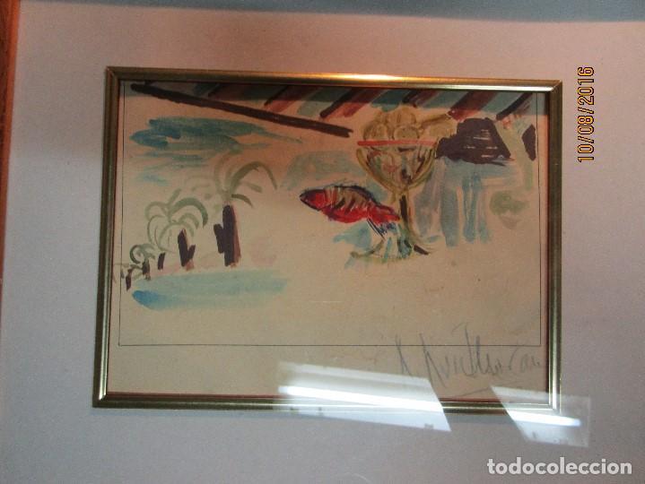 Arte: ROBERTO Ruiz morante ANTIGUA ACUARELA ORIGINAL PLAYA CHIRINGUITO ALICANTE 1985 - Foto 3 - 158550922