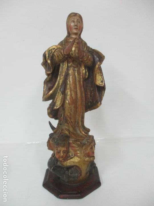 PRECIOSA VIRGEN PURÍSIMA - ESCUELA CATALANA - TALLA DE MADERA POLICROMADA Y DORADA - S. XVI-XVII (Arte - Arte Religioso - Escultura)