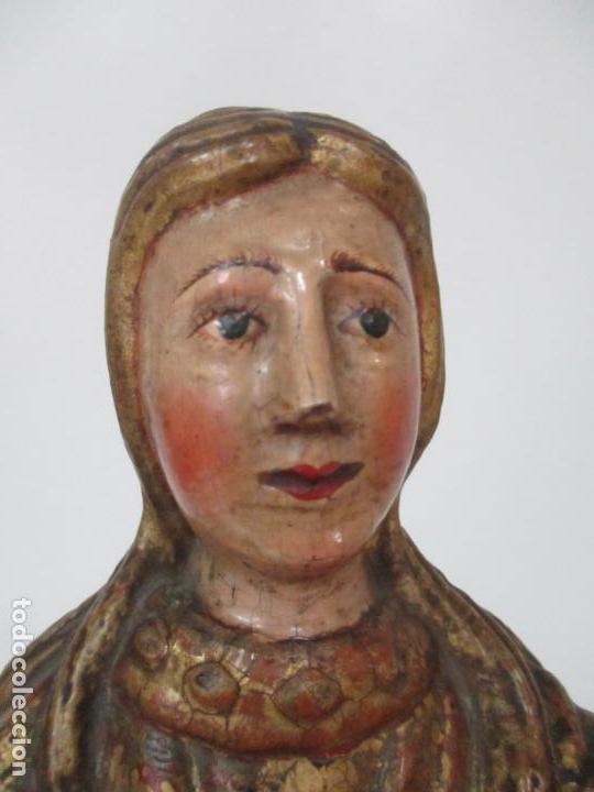 Arte: Preciosa Virgen Purísima - Escuela Catalana - Talla de Madera Policromada y Dorada - S. XVI-XVII - Foto 2 - 158630290