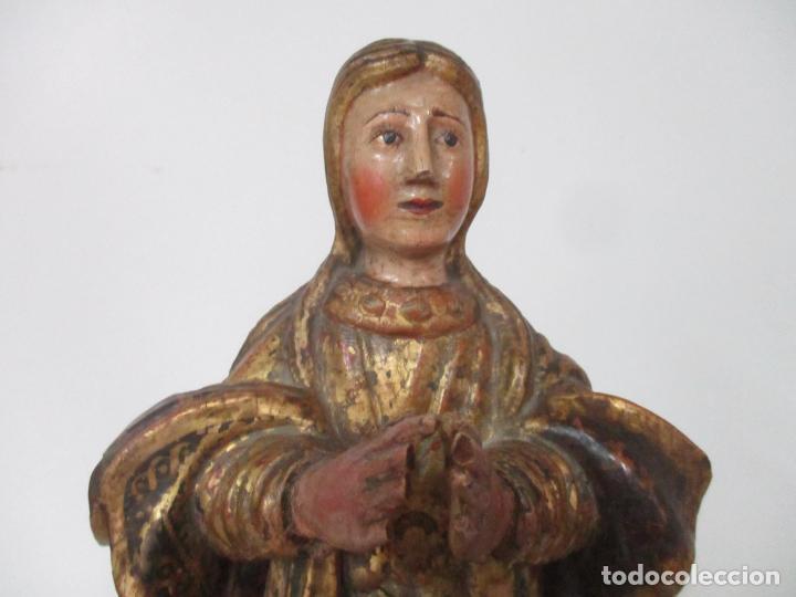 Arte: Preciosa Virgen Purísima - Escuela Catalana - Talla de Madera Policromada y Dorada - S. XVI-XVII - Foto 3 - 158630290