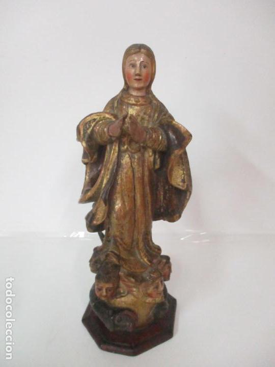Arte: Preciosa Virgen Purísima - Escuela Catalana - Talla de Madera Policromada y Dorada - S. XVI-XVII - Foto 7 - 158630290