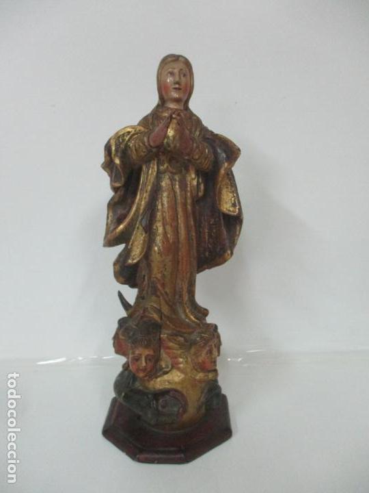 Arte: Preciosa Virgen Purísima - Escuela Catalana - Talla de Madera Policromada y Dorada - S. XVI-XVII - Foto 13 - 158630290