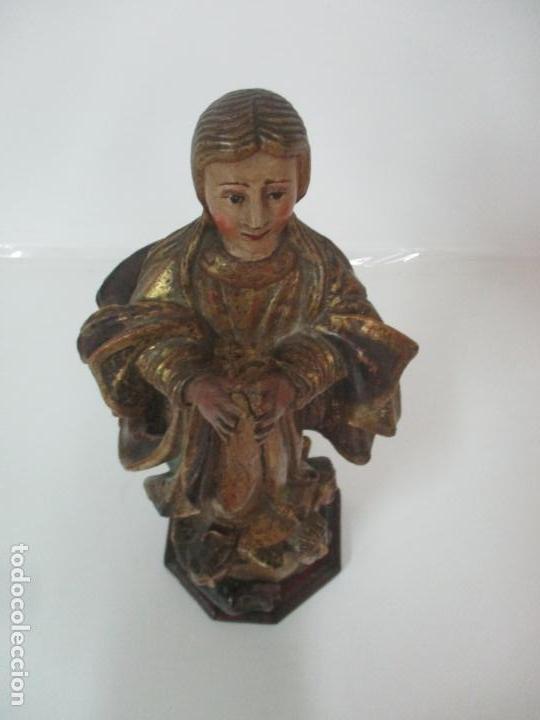 Arte: Preciosa Virgen Purísima - Escuela Catalana - Talla de Madera Policromada y Dorada - S. XVI-XVII - Foto 21 - 158630290