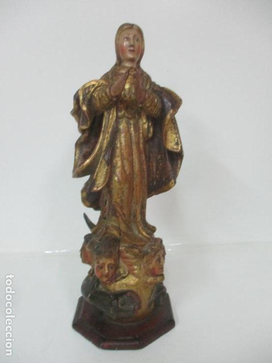 Arte: Preciosa Virgen Purísima - Escuela Catalana - Talla de Madera Policromada y Dorada - S. XVI-XVII - Foto 26 - 158630290