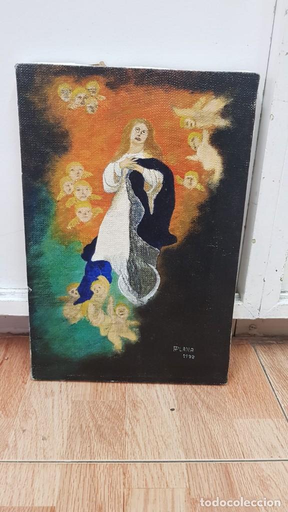 OLEO SOBRE LIENZO VIRGEN CON ANGELES FIRMADO FPLANA (Arte - Arte Religioso - Pintura Religiosa - Oleo)
