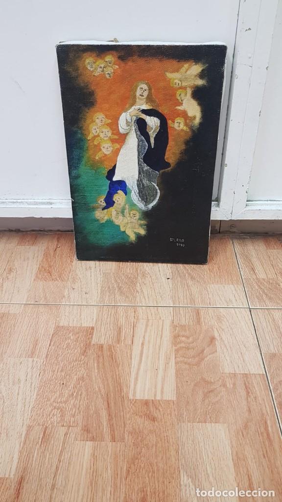 Arte: OLEO SOBRE LIENZO VIRGEN CON ANGELES Firmado FPlana - Foto 3 - 158779922