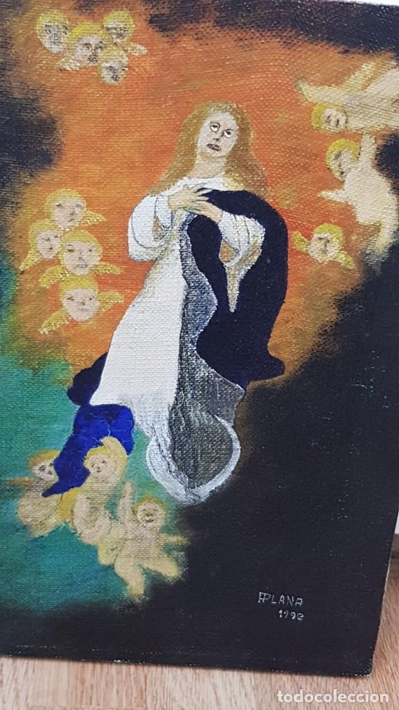 Arte: OLEO SOBRE LIENZO VIRGEN CON ANGELES Firmado FPlana - Foto 5 - 158779922