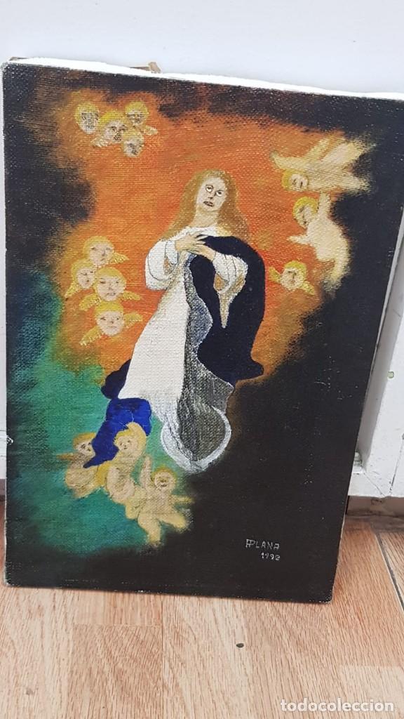 Arte: OLEO SOBRE LIENZO VIRGEN CON ANGELES Firmado FPlana - Foto 7 - 158779922