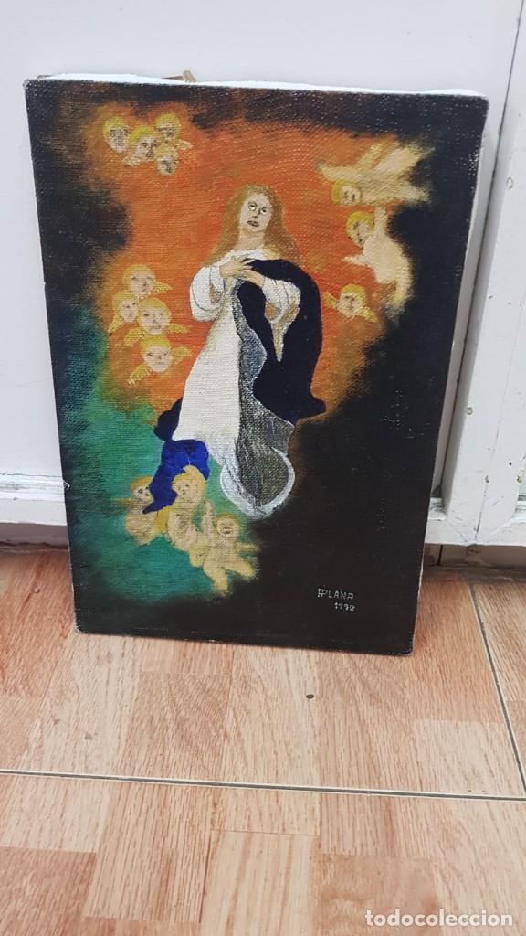 Arte: OLEO SOBRE LIENZO VIRGEN CON ANGELES Firmado FPlana - Foto 8 - 158779922