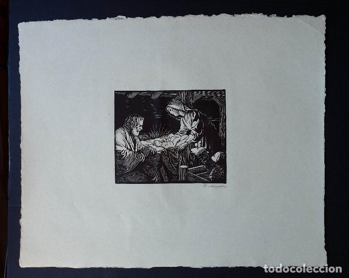 Arte: H. Schroedter, SAGRADA FAMILIA, xilografía firmada, 1907 - Foto 2 - 158919218
