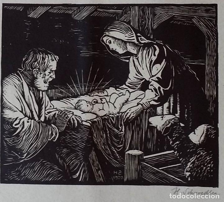 Arte: H. Schroedter, SAGRADA FAMILIA, xilografía firmada, 1907 - Foto 3 - 158919218