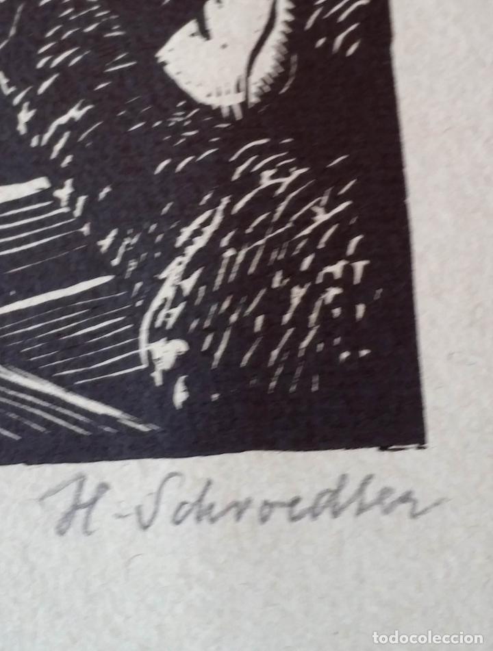 Arte: H. Schroedter, SAGRADA FAMILIA, xilografía firmada, 1907 - Foto 4 - 158919218