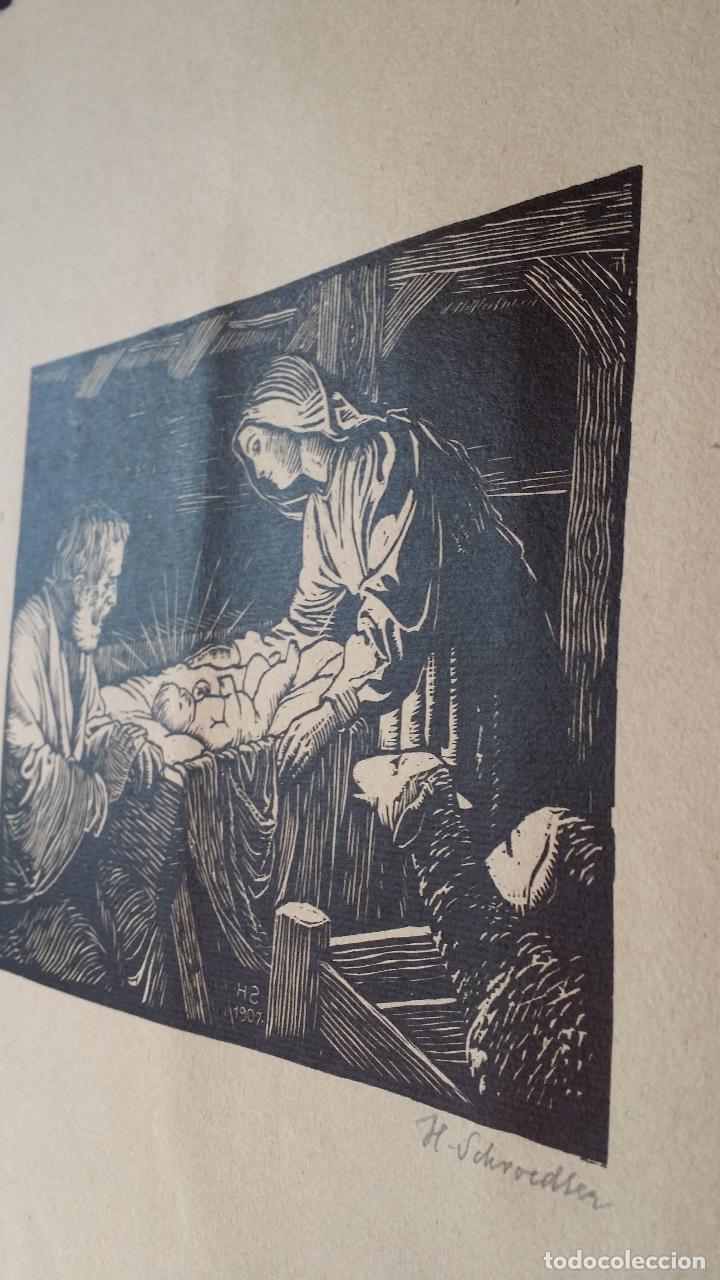Arte: H. Schroedter, SAGRADA FAMILIA, xilografía firmada, 1907 - Foto 5 - 158919218