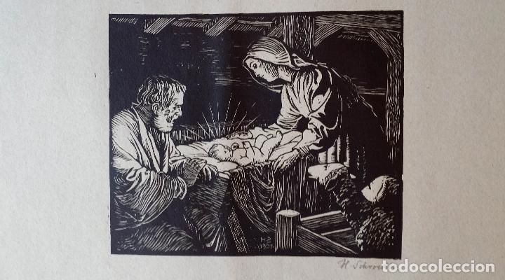 Arte: H. Schroedter, SAGRADA FAMILIA, xilografía firmada, 1907 - Foto 6 - 158919218
