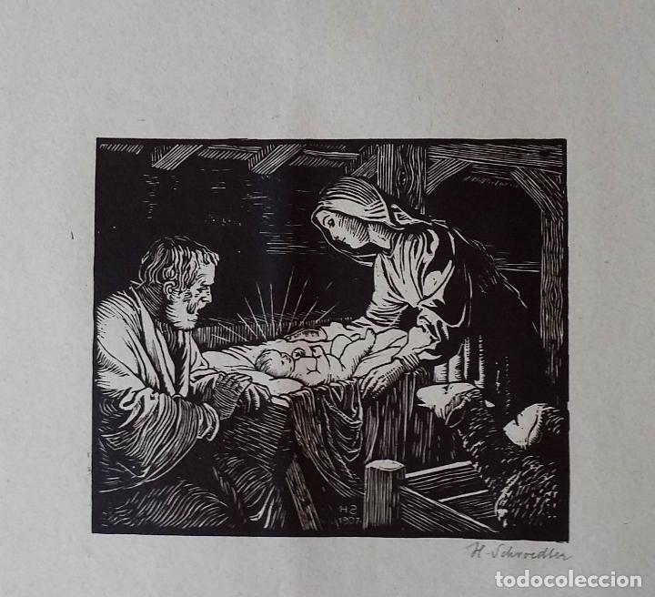 Arte: H. Schroedter, SAGRADA FAMILIA, xilografía firmada, 1907 - Foto 13 - 158919218