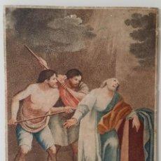Arte: SIMON PEDRO, MARTIRIO, AGUAFUERTE COLOREADO A MANO, SIGLO XVIII. Lote 158966042