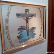Arte: ESPEJO - LÁMINA ENMARCADA DEL CRISTO DE VICENTE ROSO - INSERTADA EN ESPEJO (AÑOS 60) - 63X50 CM. Lote 159130746