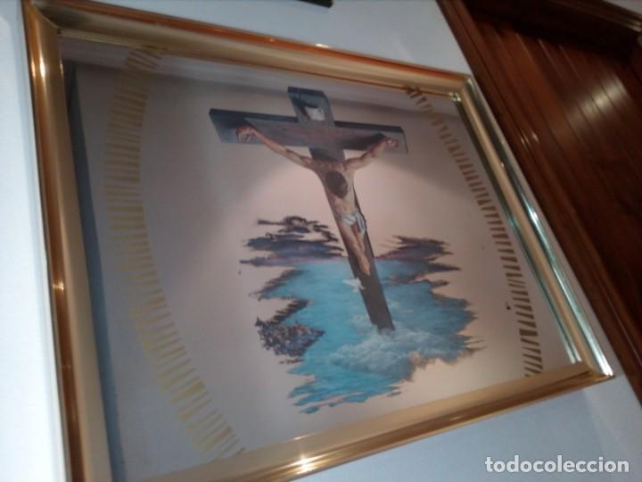 Arte: ESPEJO - LÁMINA ENMARCADA DEL CRISTO DE VICENTE ROSO - INSERTADA EN ESPEJO (AÑOS 60) - 63x50 CM - Foto 6 - 159130746