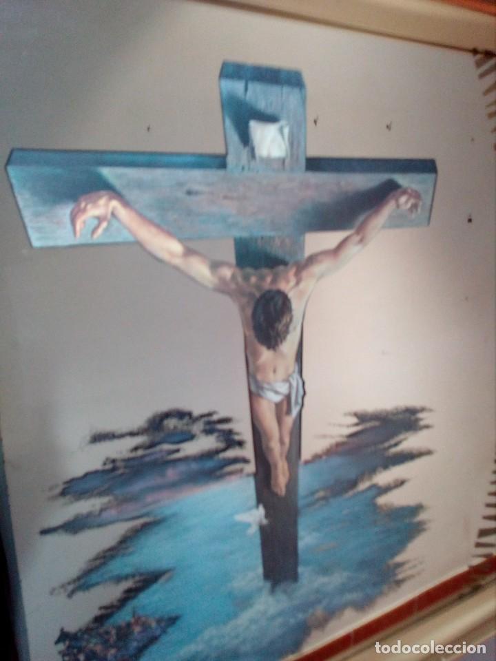 Arte: ESPEJO - LÁMINA ENMARCADA DEL CRISTO DE VICENTE ROSO - INSERTADA EN ESPEJO (AÑOS 60) - 63x50 CM - Foto 7 - 159130746