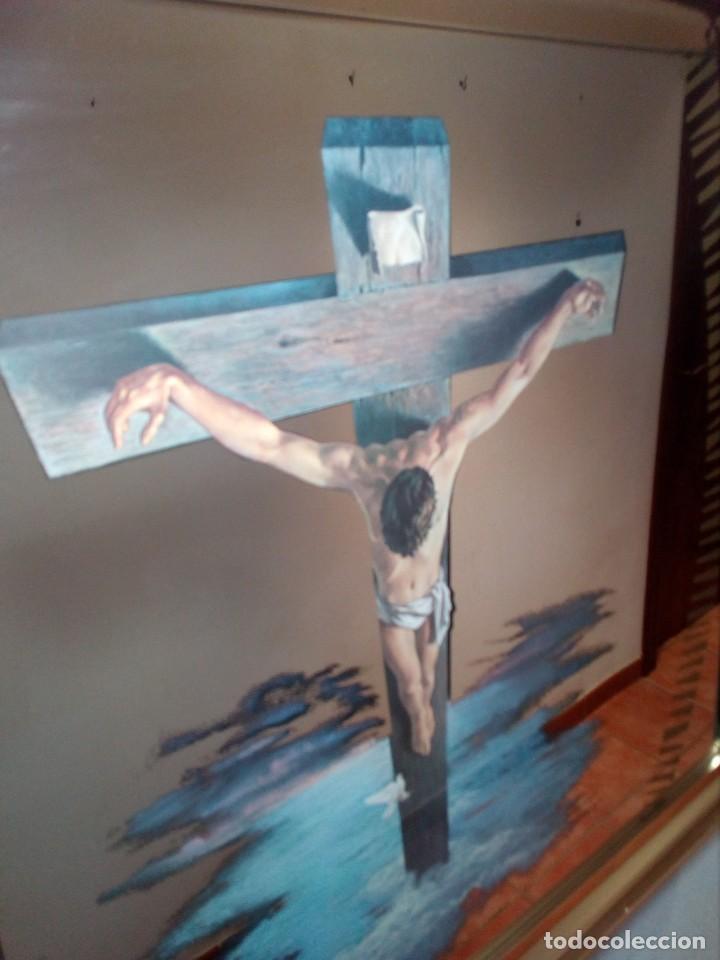 Arte: ESPEJO - LÁMINA ENMARCADA DEL CRISTO DE VICENTE ROSO - INSERTADA EN ESPEJO (AÑOS 60) - 63x50 CM - Foto 9 - 159130746