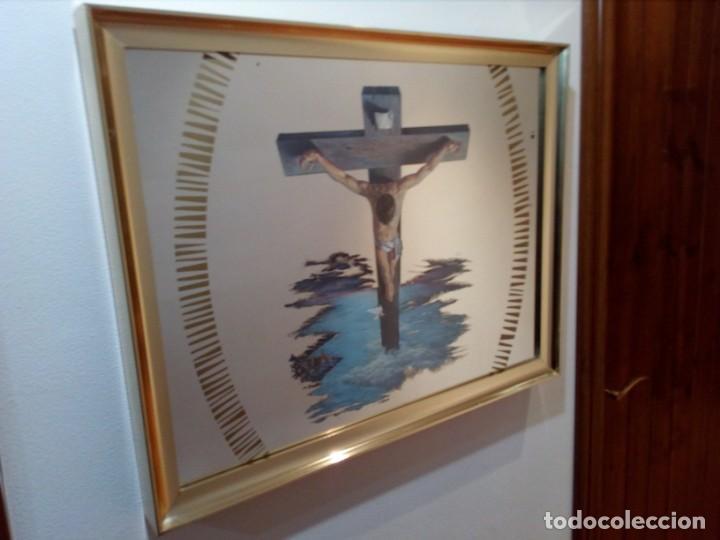 Arte: ESPEJO - LÁMINA ENMARCADA DEL CRISTO DE VICENTE ROSO - INSERTADA EN ESPEJO (AÑOS 60) - 63x50 CM - Foto 10 - 159130746