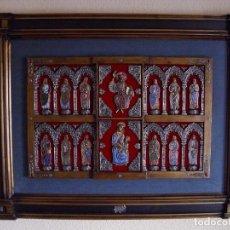 Arte: ESPECTACULAR FRONTAL, ORFEBRERÍA PLATA Y ESMALTE AL FUEGO (CRISTAL - CLOISSONÉ) 107 X 77 CM. Lote 159150886