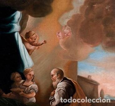 Arte: NACIMIENTO DE LA VIRGEN PINTURA ÓLEO / LIENZO DEL SIGLO XVIII. - Foto 3 - 142186105