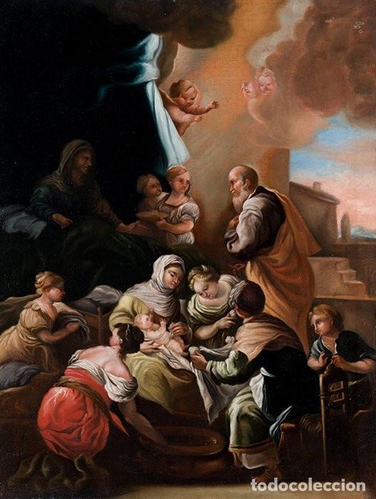 NACIMIENTO DE LA VIRGEN PINTURA ÓLEO / LIENZO DEL SIGLO XVIII. (Arte - Arte Religioso - Pintura Religiosa - Oleo)
