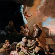 Arte: NACIMIENTO DE LA VIRGEN PINTURA ÓLEO / LIENZO DEL SIGLO XVIII.. Lote 142186105