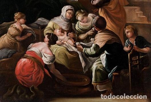 Arte: NACIMIENTO DE LA VIRGEN PINTURA ÓLEO / LIENZO DEL SIGLO XVIII. - Foto 2 - 142186105