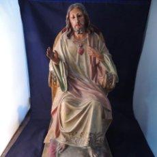 Arte: SAGRADO CORAZON DE JESUS CON MENSULA DORADA. Lote 159382906