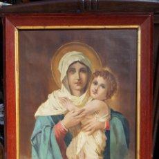 Arte: OLEO SOBRE LIENZO VIRGEN Y EL NIÑO 105 CM X 82 CM. Lote 159384385
