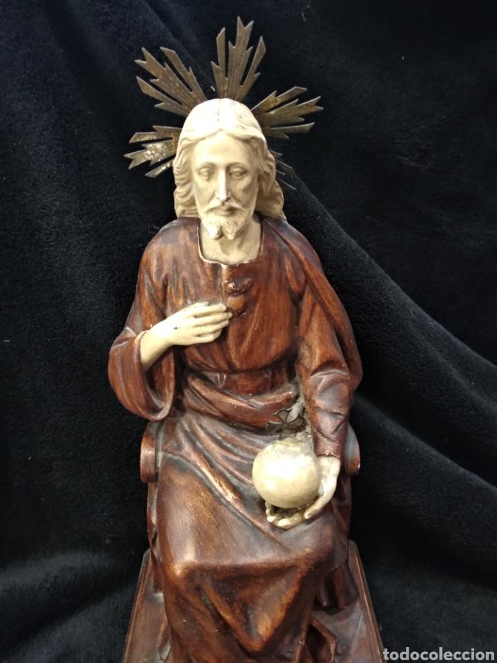 Arte: Escultura Cristo , Sagrado corazón. Escayola y base de madera. - Foto 2 - 159401557