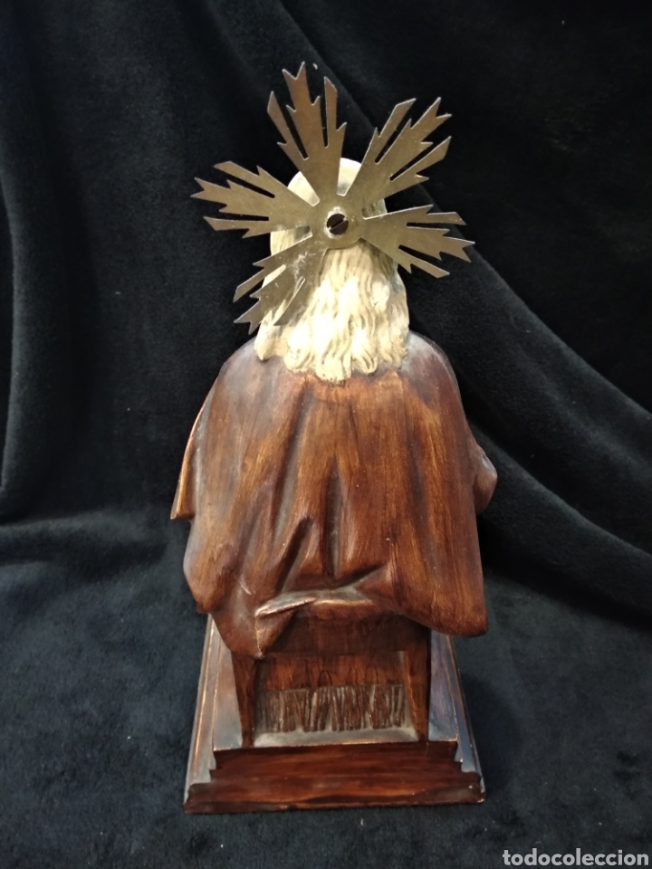 Arte: Escultura Cristo , Sagrado corazón. Escayola y base de madera. - Foto 4 - 159401557