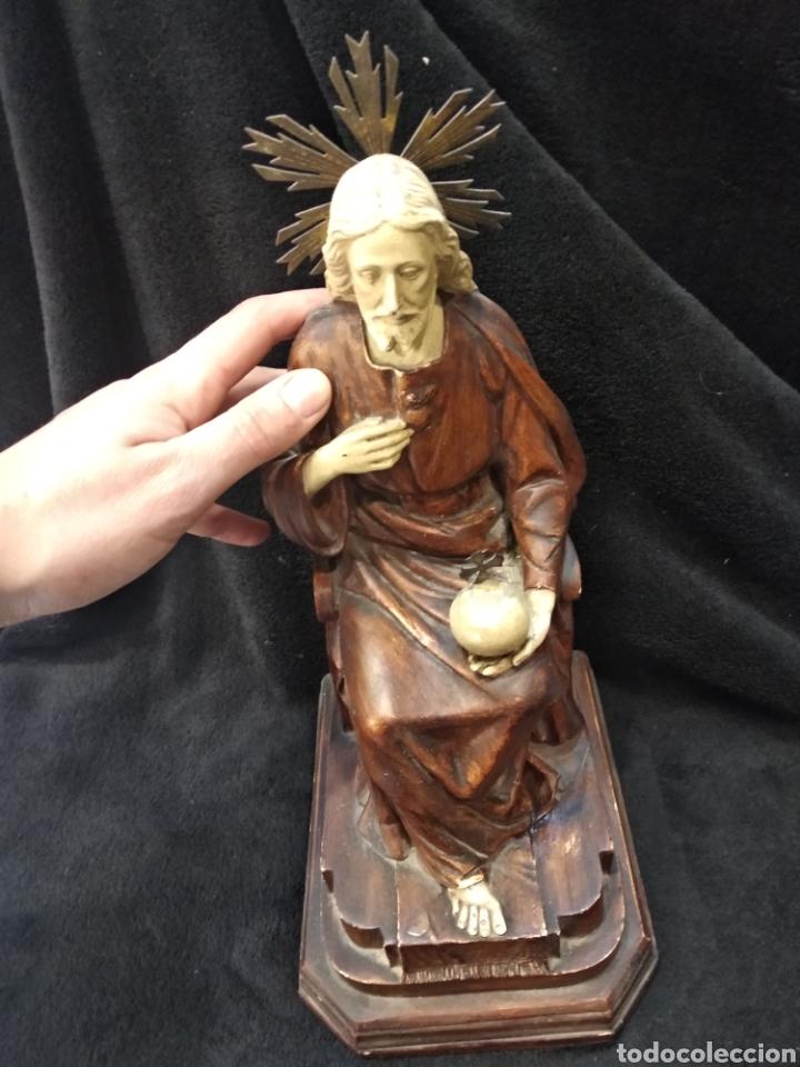 Arte: Escultura Cristo , Sagrado corazón. Escayola y base de madera. - Foto 7 - 159401557