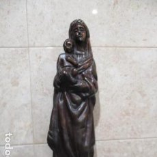 Arte: TALLA DE GRAN TAMAÑO DE LA VIRGEN MARÍA REALIZADA EN CAOBA. 43 CM DE ALTURA. Lote 159440150