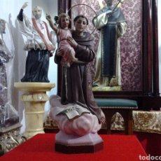 Arte: SAN ANTONIO DE PAUDA ANTIGUO, EN PASTA DE MADERA Y OJOS DE CRISTAL 46,CN. Lote 159556589