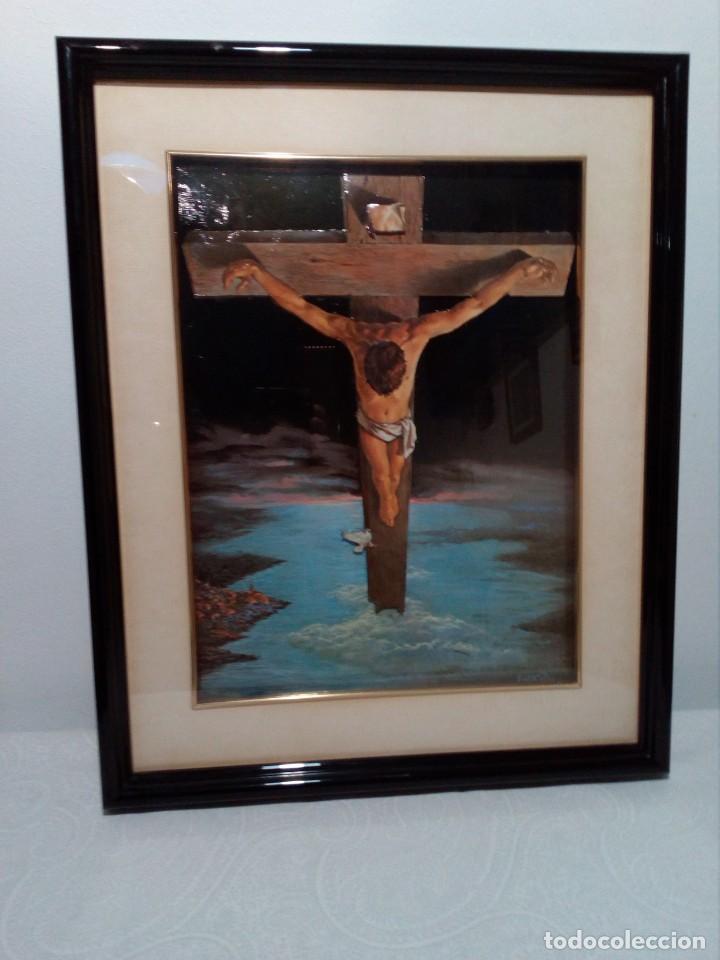 LÁMINA EN RELIEVE ENMARCADA DEL CRISTO DE VICENTE ROSO (42 CM ALTO POR 34 ANCHO) (Arte - Arte Religioso - Pintura Religiosa - Otros)