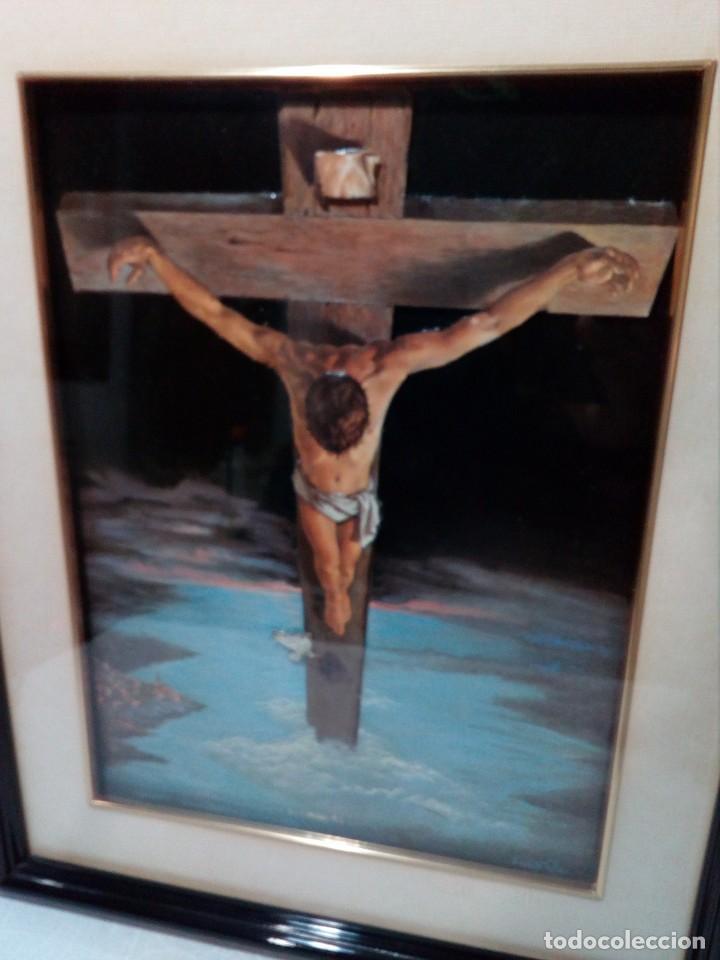 Arte: LÁMINA EN RELIEVE ENMARCADA DEL CRISTO DE VICENTE ROSO (42 CM ALTO POR 34 ANCHO) - Foto 2 - 159565254