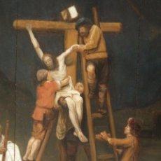 Arte: EL DESCENDIMIENTO DE LA CRUZ. ÓLEO SOBRE TABLA DE LA ESCUELA FLAMENCA DEL SIGLO XVII. MED:74 X 55 CM. Lote 159585286