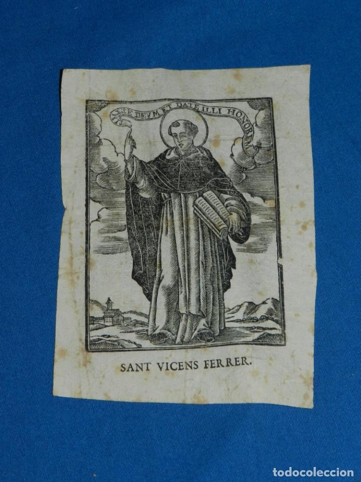GRABADO S.XVIII SANT VICENS FERRER , 15X10,5 CM, SEÑALES DE USO (Arte - Arte Religioso - Grabados)