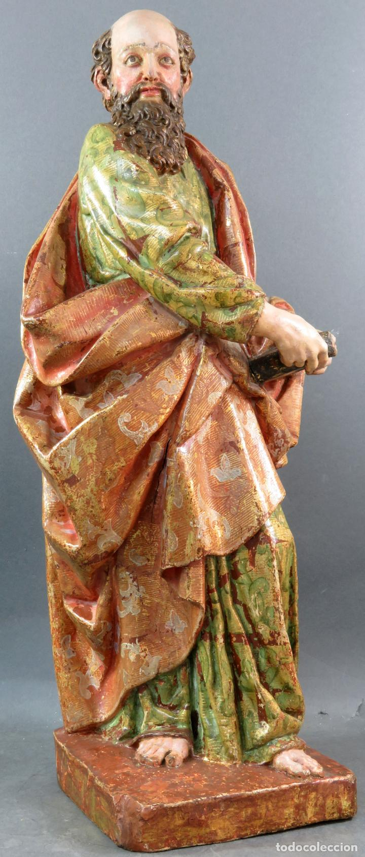 Arte: Talla San Pablo en madera estofada dorada policromada seguidor Gregorio Fernández siglo XVI - Foto 3 - 159655670
