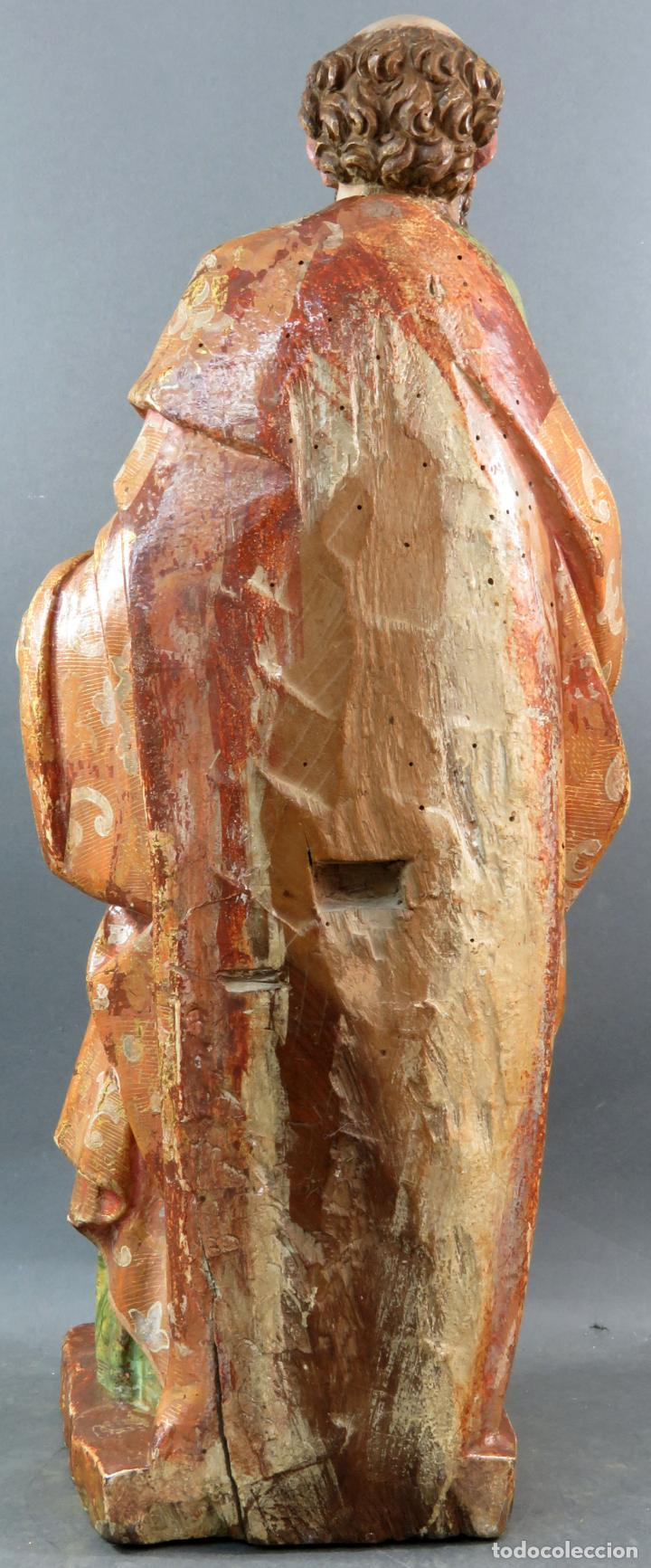 Arte: Talla San Pablo en madera estofada dorada policromada seguidor Gregorio Fernández siglo XVI - Foto 9 - 159655670