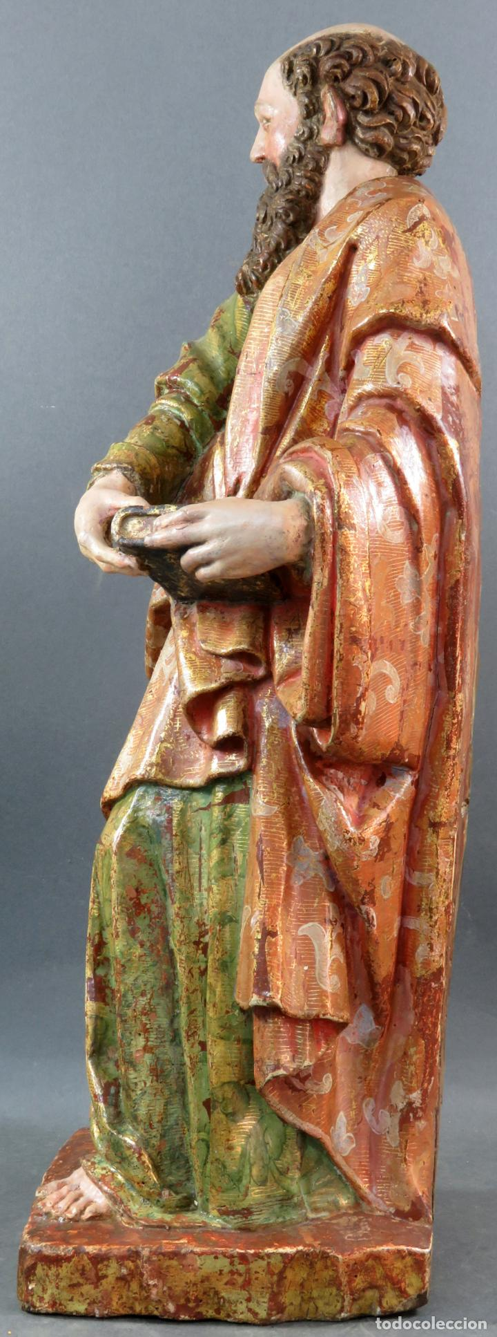 Arte: Talla San Pablo en madera estofada dorada policromada seguidor Gregorio Fernández siglo XVI - Foto 12 - 159655670