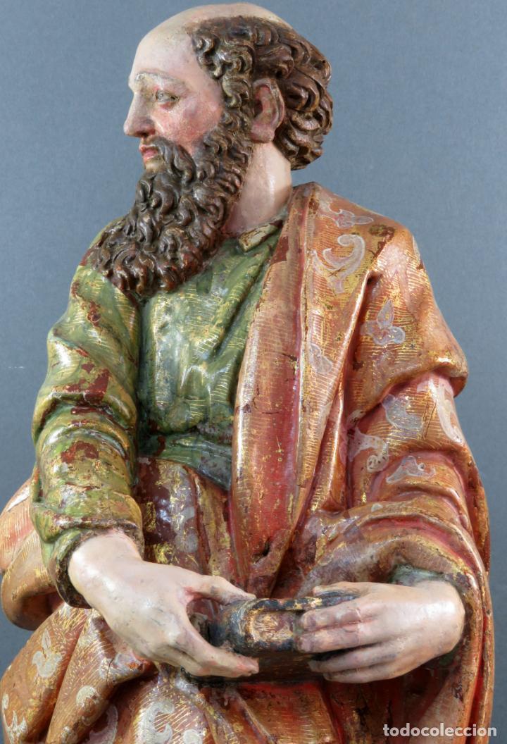 Arte: Talla San Pablo en madera estofada dorada policromada seguidor Gregorio Fernández siglo XVI - Foto 13 - 159655670