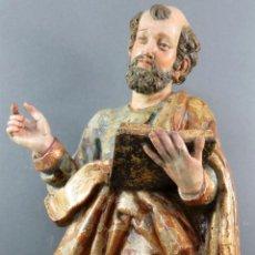 Arte: TALLA EVANGELISTA MADERA ESTOFADA DORADA Y POLICROMADA SEGUIDOR DE GREGORIO FERNANDEZ SIGLO XVI. Lote 159655938