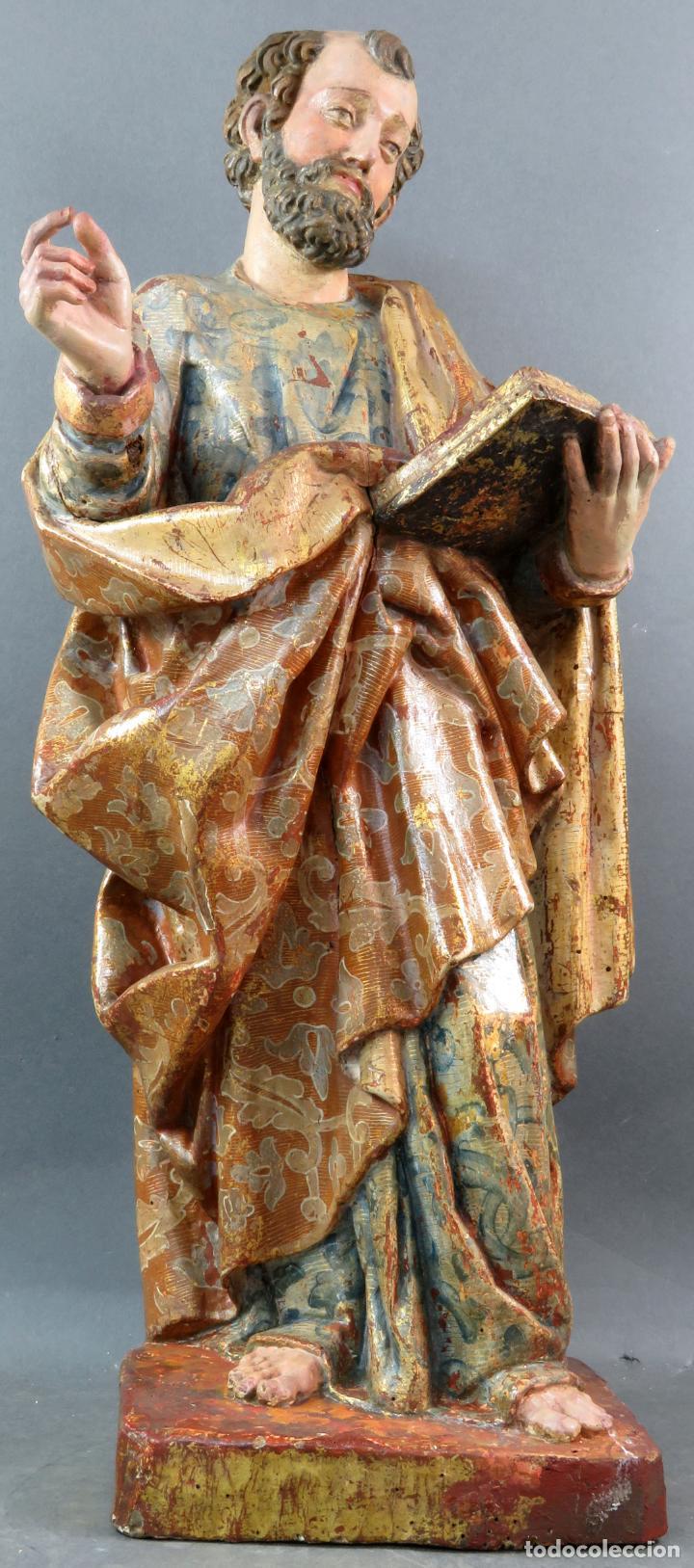 Arte: Talla San Pedro en madera estofada dorada y policromada seguidor de Gregorio Fernandez siglo XVI - Foto 2 - 159655938