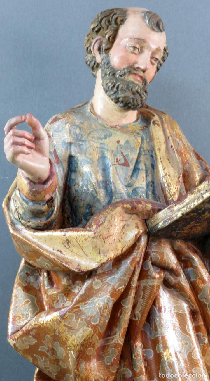 Arte: Talla San Pedro en madera estofada dorada y policromada seguidor de Gregorio Fernandez siglo XVI - Foto 3 - 159655938