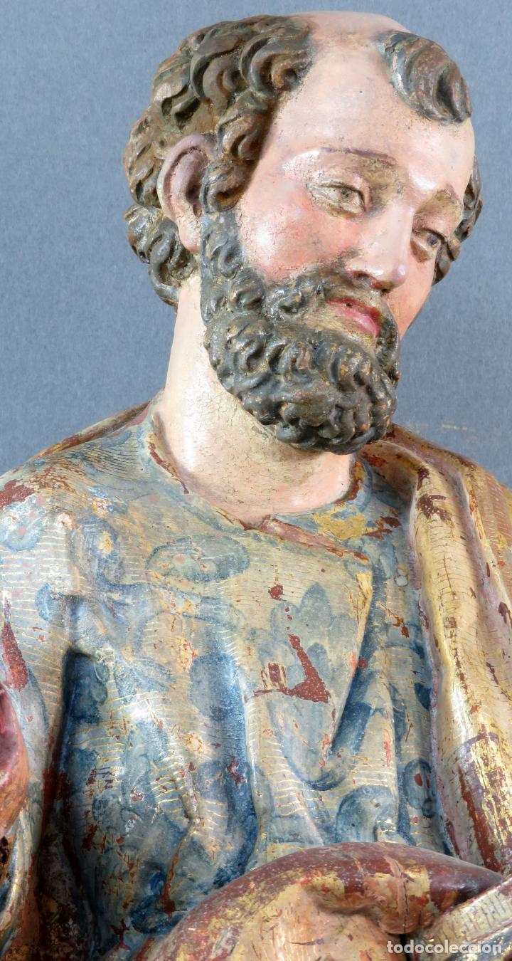 Arte: Talla San Pedro en madera estofada dorada y policromada seguidor de Gregorio Fernandez siglo XVI - Foto 4 - 159655938